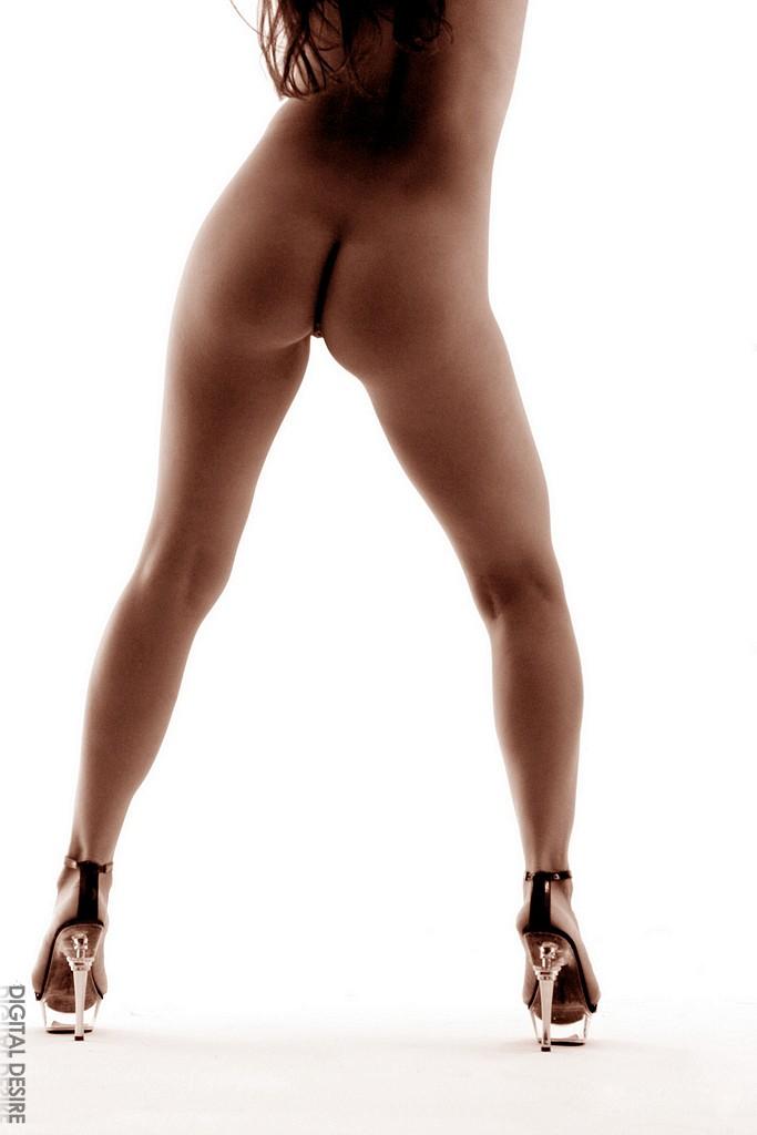 Длинноволосая раздетая брюнетка на каблуках Avery Adams обнажает свое тело на этих фото